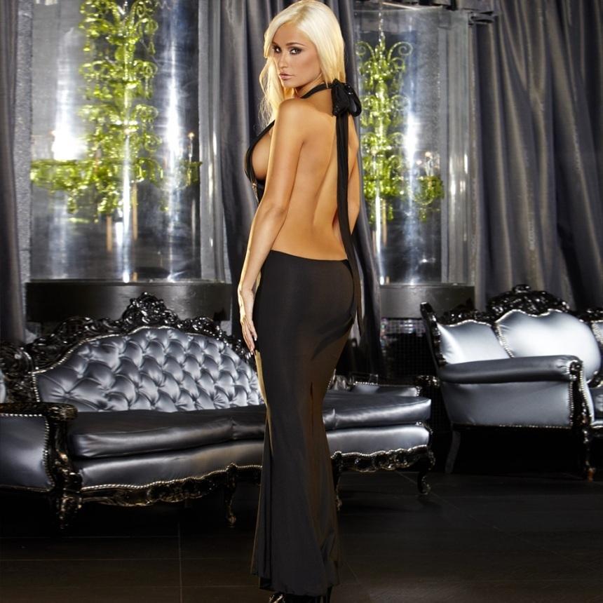 Черное вечернее платье в пол с открытой спиной
