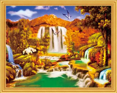 Алмазная Мозаика 40x50 Птицы у водопада