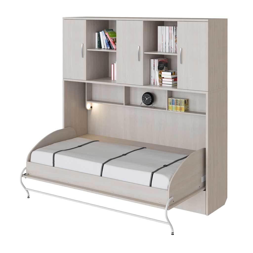 Шкаф-кровать горизонтальная односпальная 90 см со шкафом