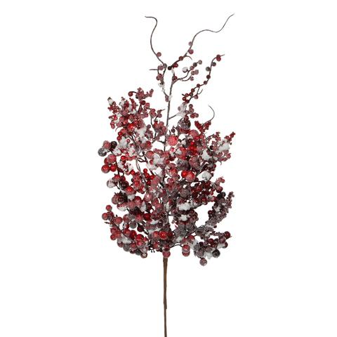 Веточка с ягодами 53 см красная в снегу