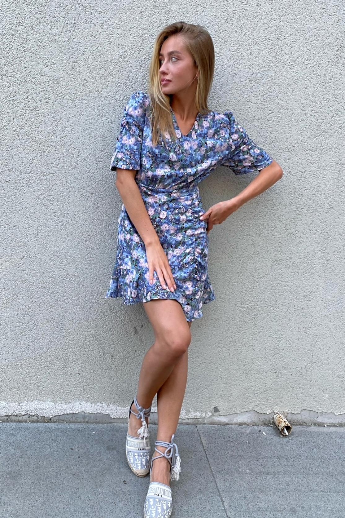 Платье в цветочек, голубой