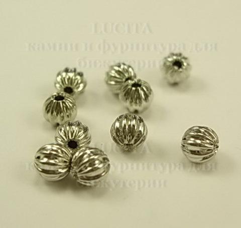 """Бусина металлическая - шарик """"Гофрированный"""" 4 мм (цвет - платина), 10 штук ()"""