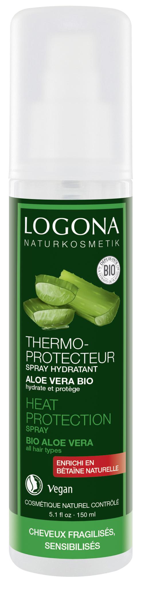 LOGONA Натуральный спрей-термозащита для волос с Био-Алоэ Вера