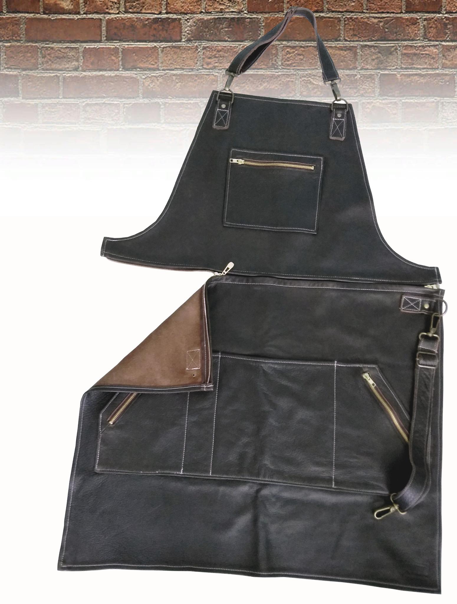 Мужской брутальный кожаный фартук тёмно-коричневый ручной работы с отстёгивающимся верхом, с регулирующимся ремнём BL17118 из импортной натуральной кожи