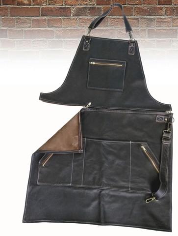 Мужской брутальный кожаный фартук с отстёгивающимся верхом