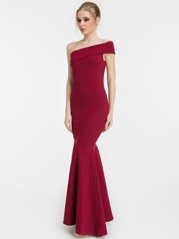 Вечернее платье-рыбка с одним плечом, бордовое 1