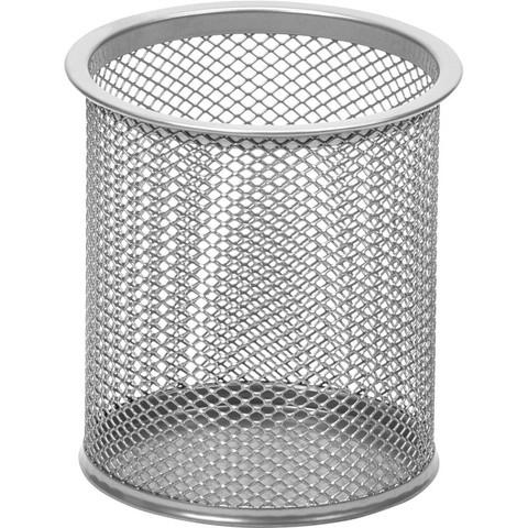 Подставка для письменных принадлежностей диаметр 89 мм высота 100 мм металлическая сетка серебристая