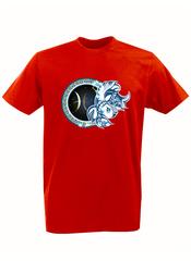 Футболка с принтом Знаки Зодиака, Рыбы (Гороскоп, horoscope) красная 003