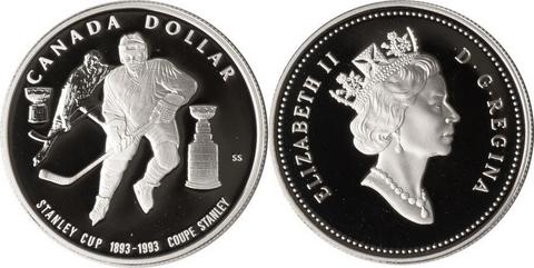1 доллар. 100 лет Кубку Стенли. Канада. Серебро. 1993 год. Proof