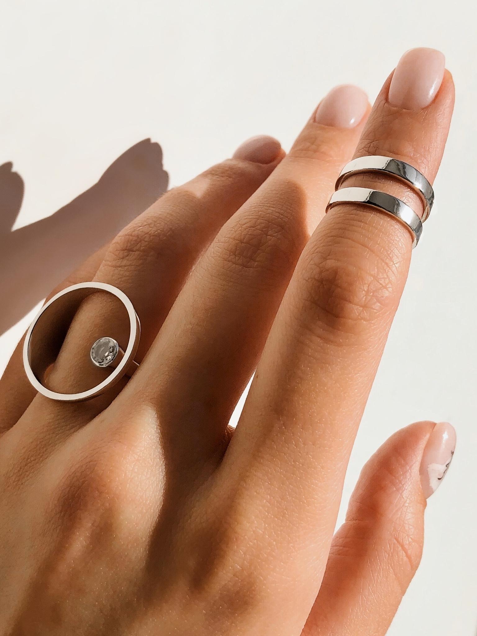 Серебряное двойное кольцо на верхнюю фалангу