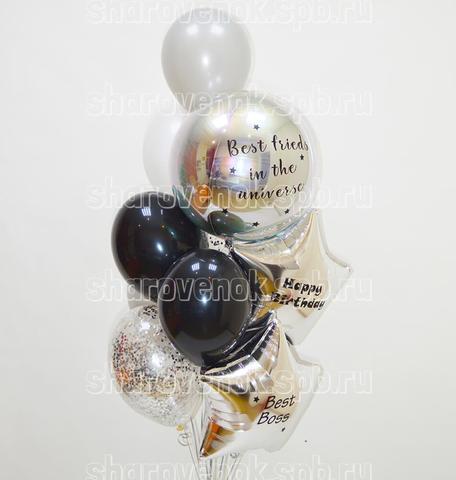 фонтан и шаров, шарики сферы, серебряные шары, черные шарики