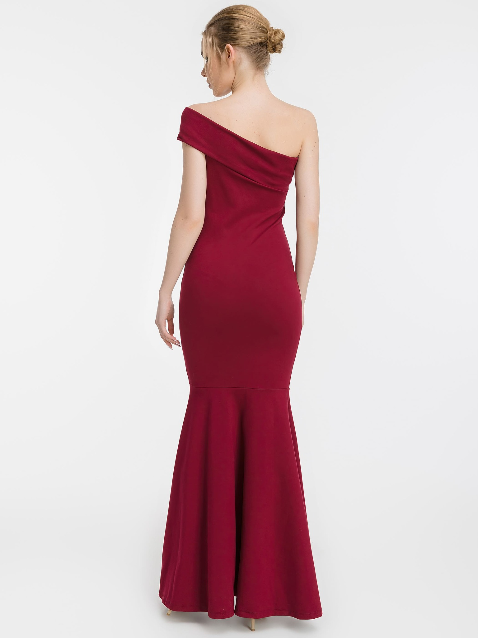 Вечернее платье-рыбка с одним плечом, бордовое