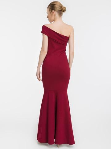 Вечернее платье-рыбка с одним плечом, бордовое 2