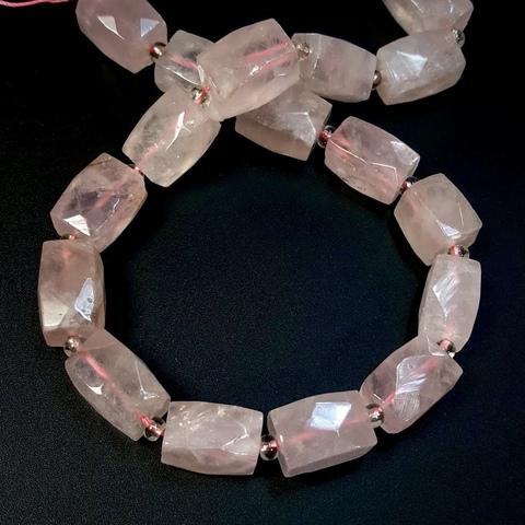 Бусина кварц розовый граненая 16х11 мм