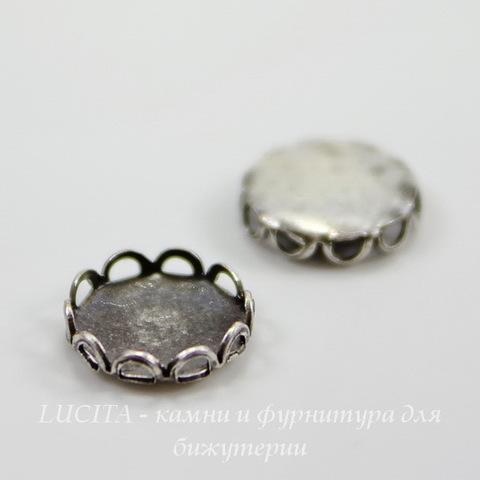 Сеттинг - основа для камеи или кабошона 7 мм (оксид серебра) ()