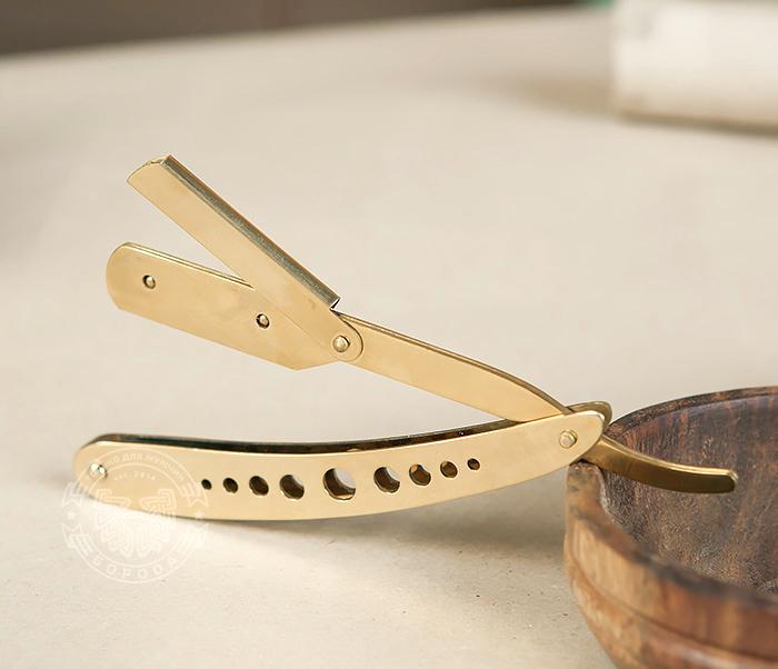 RAZ227 Опасная бритва (шаветка) со сменными лезвиями золотого цвета