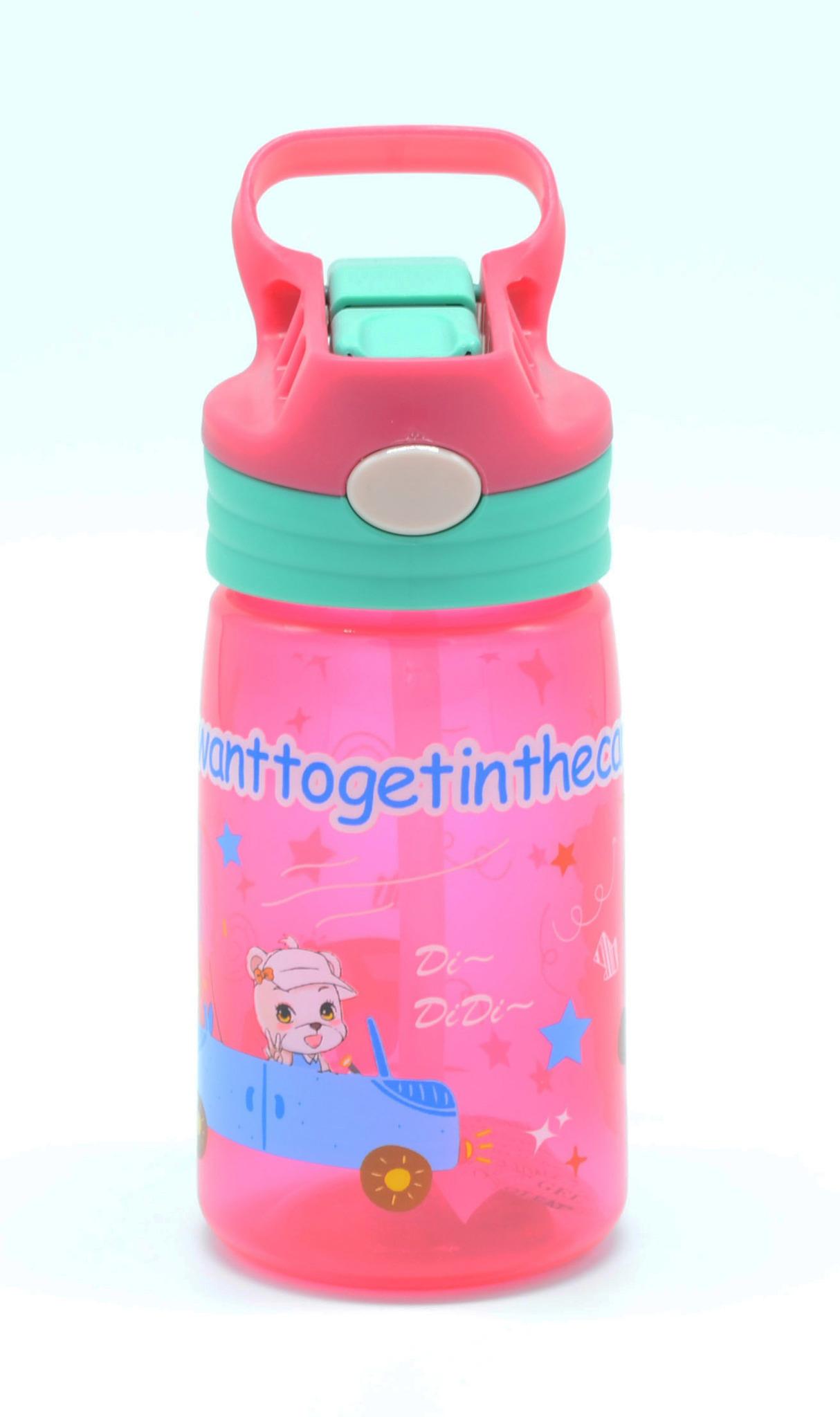 Детская бутылка для воды с выкидной трубочкой Flipper 400 мл. розовая