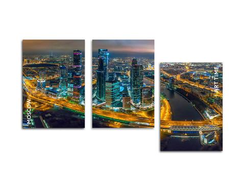 Картина на стекле трёхмодульная Ночная Москва