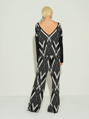 Женские брюки черного цвета из шелка и кашемира - фото 4