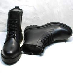 Грубые ботинки женские демисезонные кожаные Misss Roy 252-01 Black Leather.