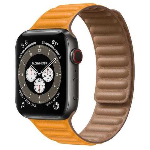 Умные часы Apple Watch Edition Series 6 GPS + Cellular 44mm Space Black Titanium Case with Leather Link (California Poppy)