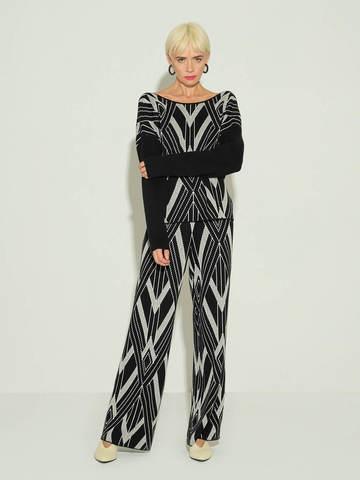 Женские брюки черного цвета из шелка и кашемира - фото 2