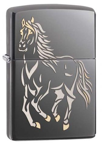 Зажигалка Zippo Running Horse, латунь с покрытием Black Ice®, черный, матовая, 36х12x56 мм