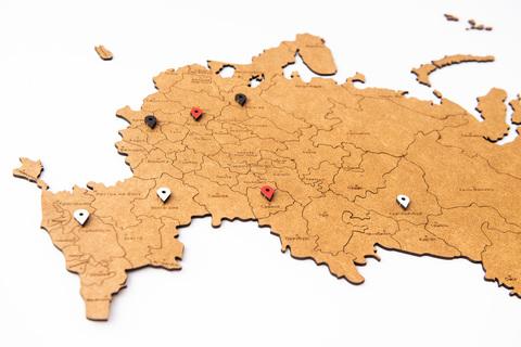 КАРТА РОССИИ КОРИЧНЕВАЯ 98 x 53 cm