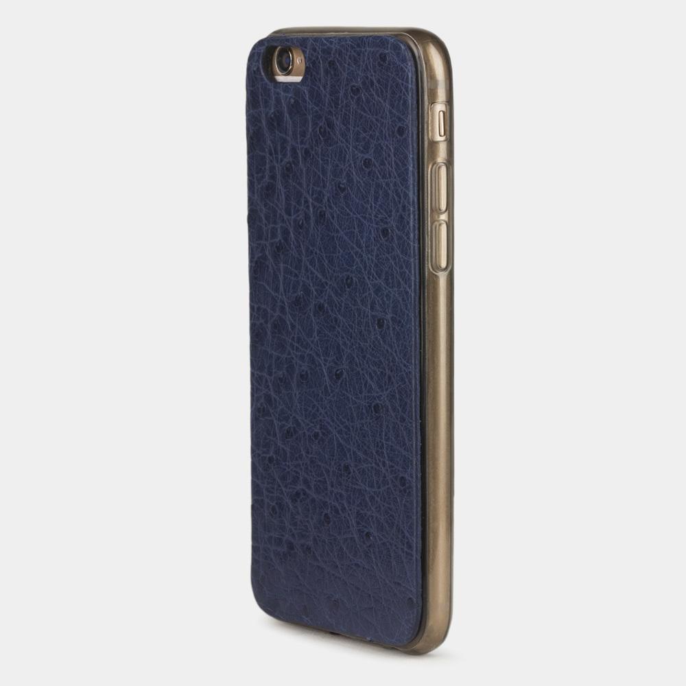 Чехол-накладка для iPhone 6/6S из натуральной кожи страуса, синего цвета