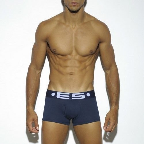 Мужские трусы боксеры  классические ES Collection Темно-синие Cotton