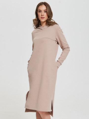 Платье с капюшоном с горизонтальным секретом Какао