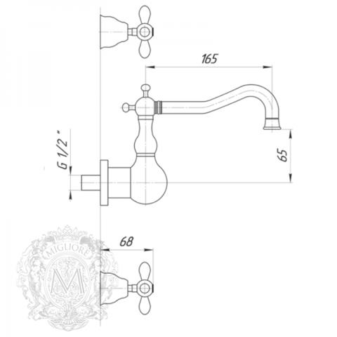 Смеситель для раковины настенный Migliore Princeton Plus ML.PRP-8070 схема