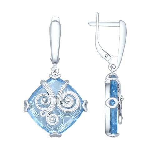 92021383 - Серьги из серебра с квадратными голубыми ситалами и сканью