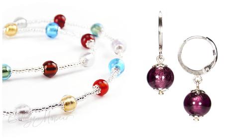 Комплект Carnavale Argento Piccolo (фиолетовые серьги Piccolo, ожерелье)