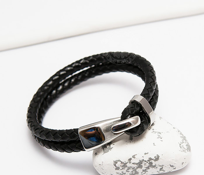 BM452 Мужской браслет из кожаных шнуров с застежкой крюком (21,5 см) фото 04