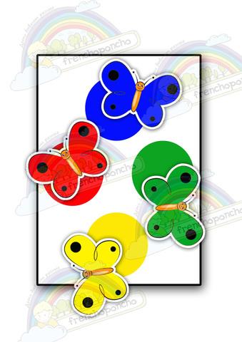Бабочки. Четыре цвета. Развивающие пособия на липучках Frenchoponcho (Френчопончо)