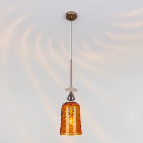 Подвесной светильник со стеклянным плафоном 50194/1 янтарный