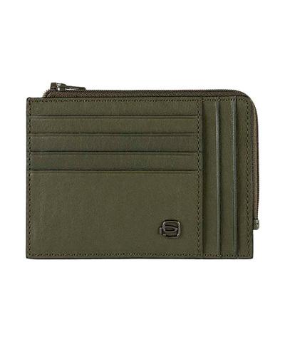 Чехол для кредитных карт Piquadro Black Square PU1243B3R/VE зеленый  из натуральной телячьей кожи. О