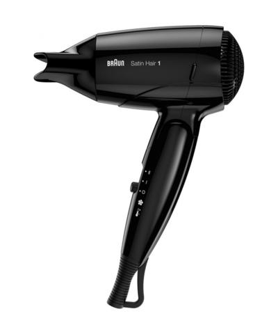 Фен складной, Braun Satin Hair 1 Style&Go HD130, 1200 Вт, черный