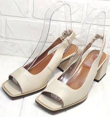 Бежевые женские босоножки с открытой пяткой и носком Brocoli H150-9137-2234 Cream.