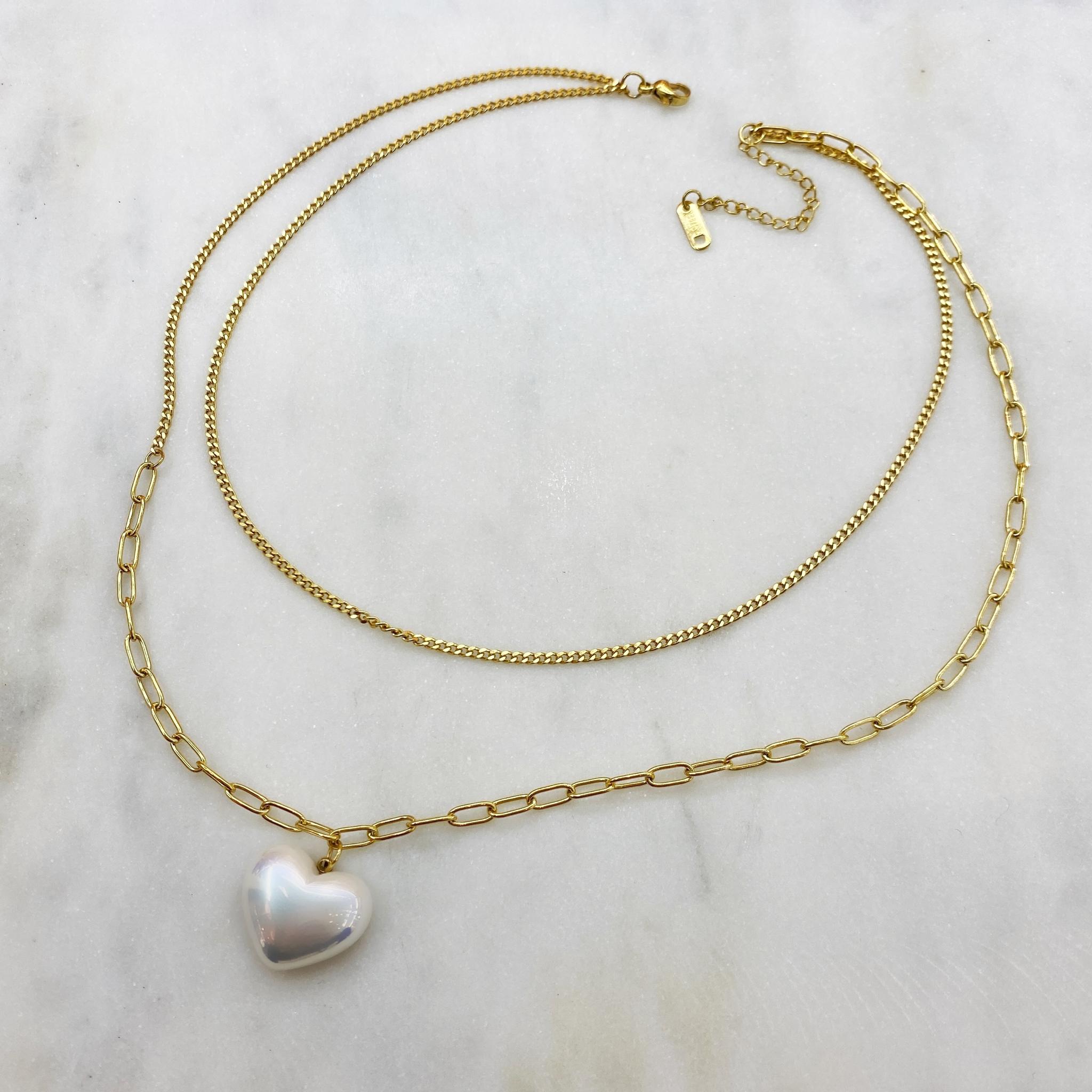 Колье-двойное цепь с подвеской-сердцем, сталь (золотистый)