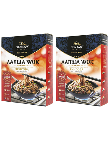 WOK по японски Лапша Soba с соусом Yakisoba Sen Soy Premium 2 штуки по 235 гр 1кор*1бл*2шт