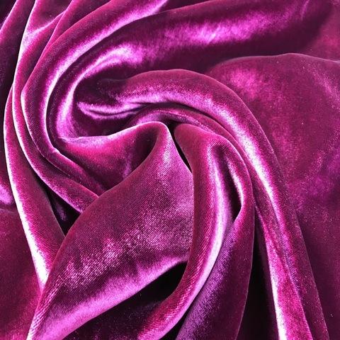 Ткань бархат  шелковый  пурпурный цвет 3190