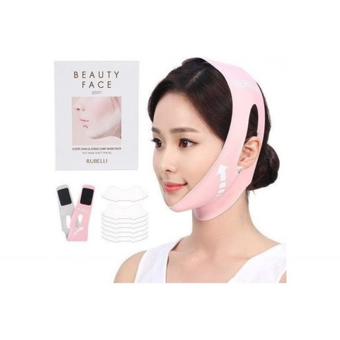 Тканевая маска для подтяжки контура лица RUBELLI Beauty Face 2-Step Chin&Cheek Care Mask Pack, 2-Step Chin&Cheek Care Mask Pack Hot Mask Sheet, 1 шт
