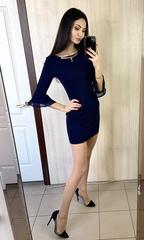 Дінара. Сукня з красивим рукавом. Синій
