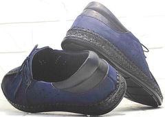 Мужские мокасины с перфорацией туфли мужские синие смарт casual Luciano Bellini 91268-S-321 Black Blue.