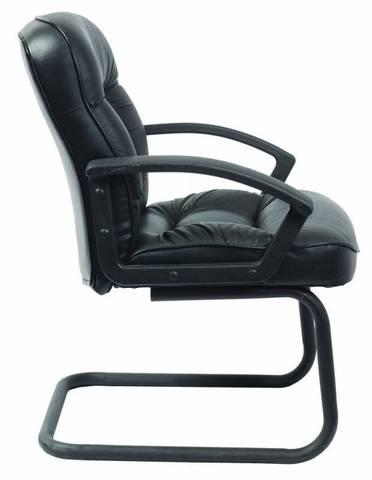 T-9908AXSN-Low-V Кресло посетителя низкая спинка черный кожа (Бюрократ)