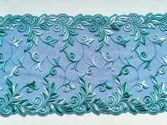 Вышивка на сетке, 23 см, светло-синий/зеленый, (Артикул: VS-1008), м