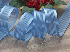 Лента органза с атласными полосками голубая ширина 25 мм