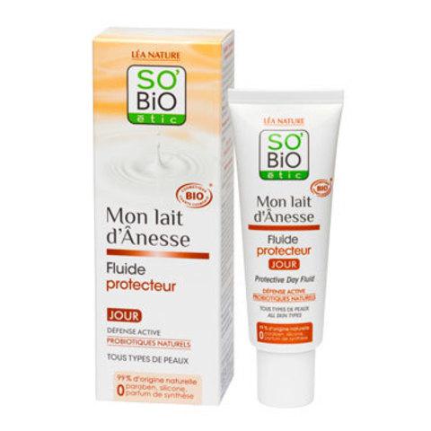 Защитный дневной флюид с ослиным молоком SO'Bio etic, 50 мл